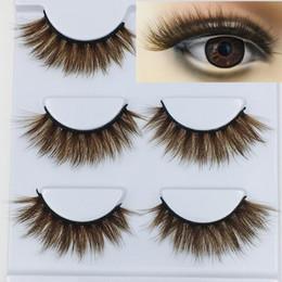 $enCountryForm.capitalKeyWord Australia - NEW 3D Mink Color False Eyelashes brown Cross Long Natural Fake Eyelashes Stage Show Makeup Thick Eye Lashes