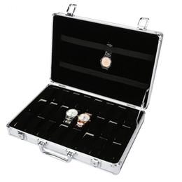 $enCountryForm.capitalKeyWord Australia - Luxury 24 Slots Grids Aluminum Alloy Suitcase Watch Display Storage Box Watch Bangle Bracelets Organizer Carring Cases with Lock