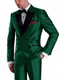 latest suit dress men UK - Latest shiny satin Double Breasted Banquet Tuxedo Dress Wear For Wedding Peak Lapel Groom Tuxedo Suits Dinner Suits 2 Piece
