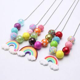 $enCountryForm.capitalKeyWord Australia - New Arrivel Clay Rainbow Kid Chunky Necklace Beaded Chain Girls Bubblegum Beads Charm Pendant Chunky Necklace Jewelry For Children