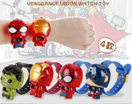 Wholesale Cartoon Avengers Iron Man Green Giant Spiderman Captain America Watch Doll Deformation Toy Boy Girl Child Watch Toy Christmas Gift