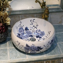 vessel sink bowls NZ - Blue And White Ceramic Art Basin Sinks Counter Top Wash Basin Bathroom Vessel Sinks vanities jingdezhen wash basin bowls