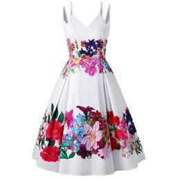 Swing Painting Australia - Plus Size Oil Painting Floral Print Women Vintage Dress Double Straps Sleeveless Summer Swing Dress Party Vestidos designer clothes
