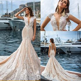b7f80c9dc9c9 2019 New Blush Pink V Neck Mermaid Wedding Dresses Cap Sleeves Lace  Appliques Chapel Train Sheer Open Back Plus Size Formal Bridal Gowns