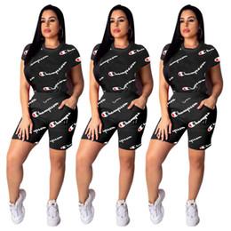 Summer Sportswear Suit Australia - Women Champions Letter Tracksuit Short Sleeve T shirt + Shorts Pants Summer Outfits 2 Piece Sportswear Joggers Clothes suits S-2XL C3252