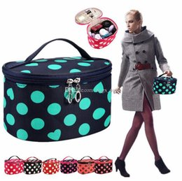 portable case cosmetic bag Australia - Portable Big Travel Cosmetic Makeup Toiletry Storage Organizer Case Lingerie Bra Underwear Dot Bags Women Fashion Dot Cosmetic Bag