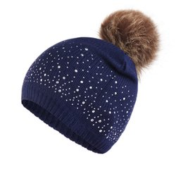 Plush hats online shopping - Women Elastic Hemming Windproof Casual Plush Ball Autumn Winter Outdoor Knitted Hat Soft Daily Rhinestone Studded Warm Gifts