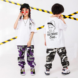 Belly T Shirts Australia - Kid Hip Hop Clothing Oversized T Shirt Camouflage Running Casual Pants for Girls Boy Dance Costume Wear Ballroom Dancing Clothes