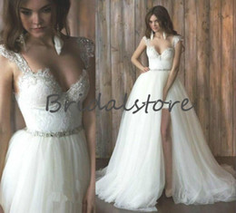 $enCountryForm.capitalKeyWord NZ - Fashion White Short Beach Wedding Dresses With Remove Skirts Cap Sleeves Crystal Sash Backless Bohemian Country Bridal Gowns Vintage 2019