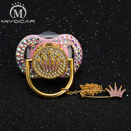 MIYOCAR all bling colorful unique bling pacifier dummy pacifier clip BPA free pass unique beautiful set on Sale