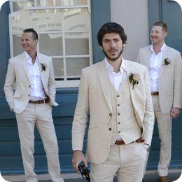 $enCountryForm.capitalKeyWord NZ - Latest Coat Pant Designs Ivory Beige Beach Linen Men Suits for Wedding Suit Bestmen Summer Marriage Groom Tuxedo 3 Piece(Jacket+Pant+Vest)