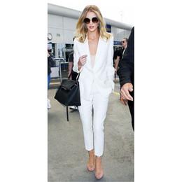 $enCountryForm.capitalKeyWord Australia - NEW fashion white trouser suit female business suit ladies formal pant suits for weddings tuxedo 2 piece blazer set