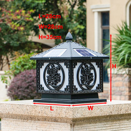 solar posts lights Canada - Solar power led black post light super bright garden lights doorway pillar lighting LED outdoor gold post lamps for villa deck parking lot