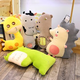 soft toy cow NZ - Kawaii Giraffe&Cow&Monster&Hedgehog&Bear Plush Sleeping Pillow Soft Animal Stuffed Toys Bed Cushion Doll Kids Lover Gifts