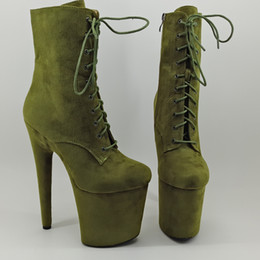 $enCountryForm.capitalKeyWord Australia - Leecabe 20CM 8inches green suede Pole dance shoes High Heel platform Boots closed toe Pole Dance boot