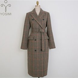 $enCountryForm.capitalKeyWord Australia - Woman Coats Winter 2018 Long Women Woolen Coat Turn-down Collar Outwear Clothing Wide-waisted Belt Female Costume Gray for Women