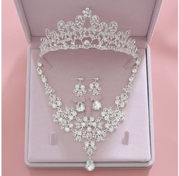 Cheap Platinum Earrings Australia - 2019 Fashion Crystal Bridal Jewelry Sets Wedding Crown Earrings Necklace Cheap Wedding Bridal Hair Accessories Women Prom Bride Tiara Crowns