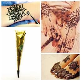 Diy Body Art Stencils Australia - 1PC Black Mehndi Henna Tattoo Paste Indian Waterproof Henna Tattoo Cones Black Ink Color DIY Body Art Cream For Stencil Paint