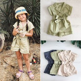 girl jumpsuit playsuit Australia - Kids Baby Girls Bowknot Romper Tops Jumpsuit Playsuit Outfit Headband