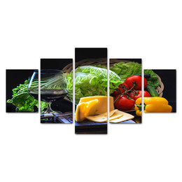 Piece kitchen wall art canvas online shopping - 5 Pieces Canvas Art Fresh Vegetables Cheese Fruit Wine Wall Pictures For Kitchen Restaurant Home Decor Still Life Painting
