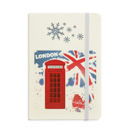 magnetic flag UK - Britain UK London Flag Red Telephone Booth Notebook Thick Journal Snowflakes Winter