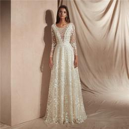 $enCountryForm.capitalKeyWord NZ - 2019 Bohemian Applique Wedding Dresses Sheer Neck Long Sleeve Lace Sweep Train Beach Boho Garden Country Bridal Gowns robe de mariée