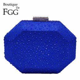Crystal Hard Shell Case UK - Boutique De FGG Octagon Shape Women Crystal Clutch Evening Bags Hard Case Luxury Handbags Ladies Metal Clutches Wedding Purse #744105