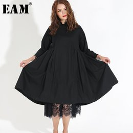 Fashion Trends Lace Dress Australia - [eam] 2019 Spring Fashion Trend New Korean Lace Hem Solid Fold Stitch Long Sleeve Two Piece Dress Temperament Woman Y13100 Y19051001