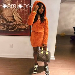 7ef016c19aa BerryPark Orange Velvet Hoodie Skirt Set 2019 NEW Winter 2 Pieces Sets  Women Warm Thick Flannel Coat Skirt Outfits Drop Shipping C18121701