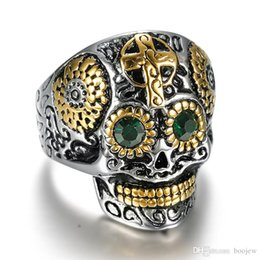 Punk 316L Stainless Steel Gothic Gold Carving Skull Mask Jesus Cross Ring  Biker Hip hop Rock Unique Jewelry for Male Cool Gift b95995ac6d6d