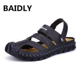 $enCountryForm.capitalKeyWord Australia - Brand Summer Beach Sandals Fashion Designers Men Sandals Split Leather Slippers for Men Genuine Leather Casual Shoes