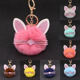 Rings holdeR cat online shopping - Free DHL Cute Animal Cat Keychains Plush Fur Ball Dolls Key Ring Handbag Backpack Keychain Key Ring holder Decor For Girls Xmas Gifts N31Y