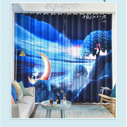 3d curtains Simple curtain moon dormitory bay window French window personality creative blackout curtain on Sale