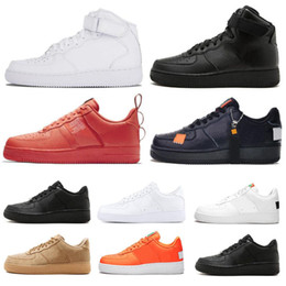 black high sneakers Australia - New 1 Utility Classic Black White Dunk Men Women Casual Shoes Couple red one Sports Skateboarding High Low Cut Wheat Trainers Sneakers 36-45