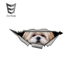 $enCountryForm.capitalKeyWord Australia - wholesale 20pcs lot Shih tzu 3D Car Sticker Funny Pet Dog Decal Creative Modified Stickers Waterproof Car Styling Decoration 15cm x 6cm