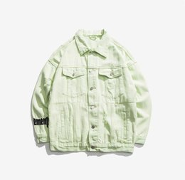 beige denim jacket mens UK - Newest mens Ripped Candy Color denim jackets coat Fashion Designer Letter Embroidery Hip Pop Streetwear Oversize panelled Jeans outwear