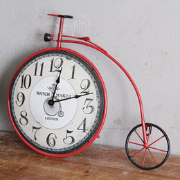 Discount bicycle room - Retro American country living room bedroom creative bicycle wall clock personalized decorative clock wall