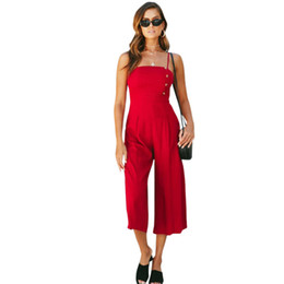 0c789cccc4d Sexy Women Spaghetti Strap Jumpsuits Button Strapless Rompers playsuit Wide  Leg Pants Casual Summer Bodysuit Combinaison Femme