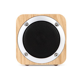portable mini square speaker Canada - Square wooden bluetooth speakers portable wood audio card subwoofer gift desktop wireless mini speaker better restore wooden box speaker
