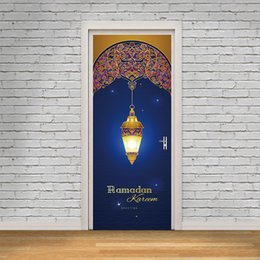 $enCountryForm.capitalKeyWord UK - 2Pcs Set Muslin Ramadan Kareem Door Stickers Islamic Wall Sticker Bedroom Living Room Decor Wallpaper Poster PVC Waterproof Decal