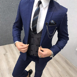 $enCountryForm.capitalKeyWord Australia - Navy Blue Plaid Groom Wedding Tuxedos Slim Fit 3 Pieces Notched Lapel Mens Pants Suits High Quality Designer Jackets