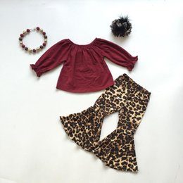 $enCountryForm.capitalKeyWord Australia - fall winter baby girls children clothes set outfits boutique leopard milk silk wine ruffles top pants cotton match accessories