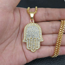 "hand fatima necklace pendant Australia - Hip Hop Iced Out Paved Rhinestone Hand Of Fatima Necklaces Pendants For Women Men Jewelry With Chain 20"" 22"" 25"" 27"""