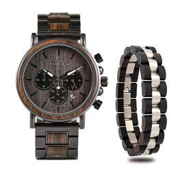 Blue Bird Bracelet online shopping - heap Quartz Watches BOBO BIRD Wooden Timepieces Men Watches Bracelet Set Chronograph Military in Wooden Box relogio masculino OEM Drop Sh
