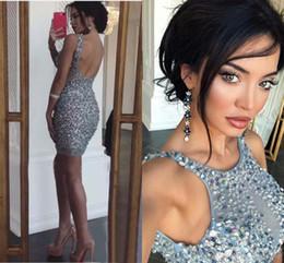 $enCountryForm.capitalKeyWord NZ - Sexy Backless Crystals Cocktail Party Dresses 2019 Arabic Silver Illusion Sheer Sheath Short Mini Length Pageant Formal Gowns Club Wear