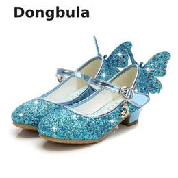 Discount pink glitter butterflies - Summer Girls High Heel Princess Sandals Children Shoes Glitter Leather Butterfly Girls Kids Shoes For Party Dress Weddin