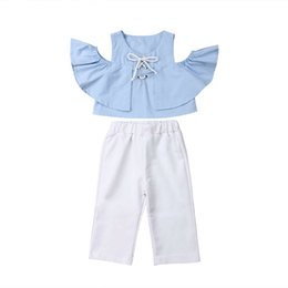 Girls Butterfly Shirt UK - 2pcs Summer Baby Girls Off shoulder Shirt Tops+ Long Pants Outfits Clothes Set
