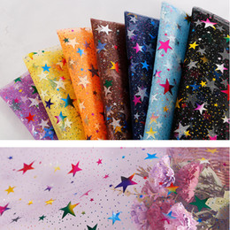 $enCountryForm.capitalKeyWord Australia - Dacron 20D Flat Cloth Bronzing Colorful Five-Pointed Star West Gauze Fabric Woven 20S Wedding Dress Dress Stage Clothes DIY Christmas Clothe