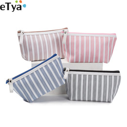 $enCountryForm.capitalKeyWord Australia - Women Cosmetic Bag Travel Nesesser Toiletry Organizer Storage Pouch Purse Zipper Canvas Striped Female Make Up Bags Handbags