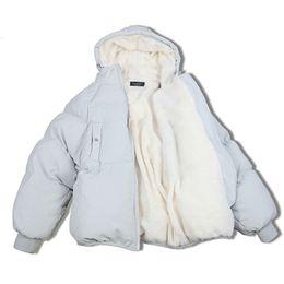 Lamb jackets men online shopping - Oversized Coats Winter Jacket Women And Men Couples Parka Hood Lambs Wool Jackets Chaquetas Mujer Short Cotton Winter Coat C5669 SH190930
